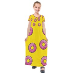 Background Donuts Sweet Food Kids  Short Sleeve Maxi Dress