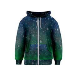 Background Blue Green Stars Night Kids  Zipper Hoodie by Alisyart