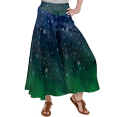 Background Blue Green Stars Night Satin Palazzo Pants by Alisyart