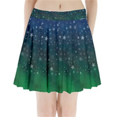 Background Blue Green Stars Night Pleated Mini Skirt by Alisyart
