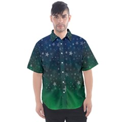 Background Blue Green Stars Night Men s Short Sleeve Shirt by Alisyart