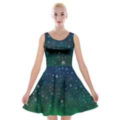 Background Blue Green Stars Night Velvet Skater Dress