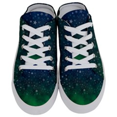 Background Blue Green Stars Night Half Slippers