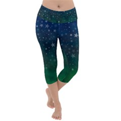 Background Blue Green Stars Night Lightweight Velour Capri Yoga Leggings