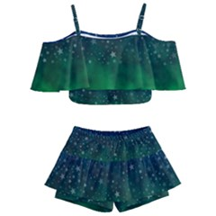 Background Blue Green Stars Night Kids  Off Shoulder Skirt Bikini