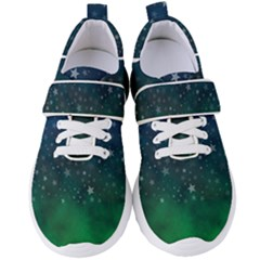 Background Blue Green Stars Night Women s Velcro Strap Shoes