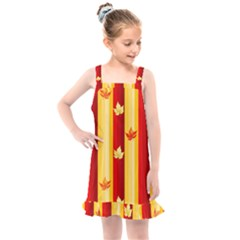 Autumn Fall Leaves Vertical Kids  Overall Dress by Alisyart