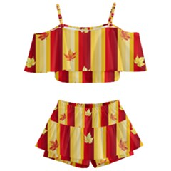 Autumn Fall Leaves Vertical Kids  Off Shoulder Skirt Bikini