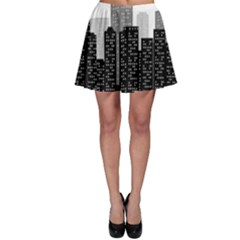 Building Town City Night Urban Skater Skirt by AnjaniArt