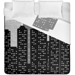Building Town City Night Urban Duvet Cover Double Side (king Size) by AnjaniArt