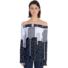 Building Town City Night Urban Off Shoulder Long Sleeve Top by AnjaniArt