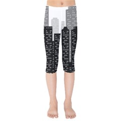 Building Town City Night Urban Kids  Capri Leggings  by AnjaniArt