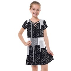 Building Town City Night Urban Kids  Cross Web Dress by AnjaniArt