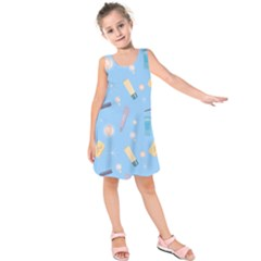 Bathroom Pattern Bath Shampoo Tube Kids  Sleeveless Dress by AnjaniArt