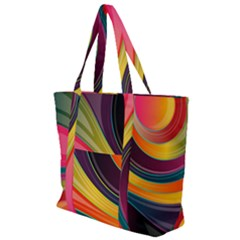 Abstract Colorful Background Wavy Zip Up Canvas Bag