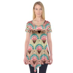 Background Floral Pattern Pink Short Sleeve Tunic