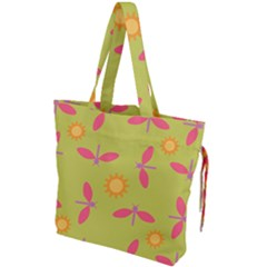 Dragonfly Sun Flower Seamlessly Drawstring Tote Bag