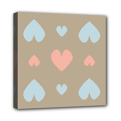 Hearts Heart Love Romantic Brown Mini Canvas 8  X 8  (stretched)