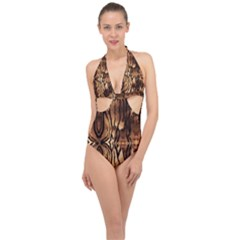 Luxury Animal Print Halter Front Plunge Swimsuit by tarastyle