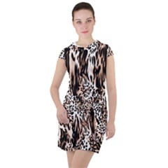 Luxury Animal Print Drawstring Hooded Dress