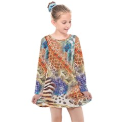 Luxury Animal Print Kids  Long Sleeve Dress