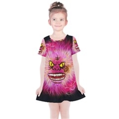 Monster Pink Eyes Aggressive Fangs Kids  Simple Cotton Dress by Desi8477