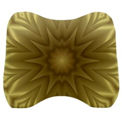 Background Pattern Golden Yellow Velour Head Support Cushion by Pakrebo