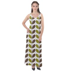 Leaf Plant Pattern Seamless Sleeveless Velour Maxi Dress