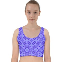 Decor Pattern Blue Curved Line Velvet Racer Back Crop Top