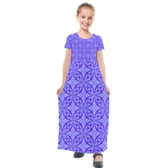 Decor Pattern Blue Curved Line Kids  Short Sleeve Maxi Dress by Pakrebo