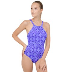 Decor Pattern Blue Curved Line High Neck One Piece Swimsuit