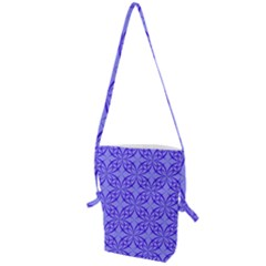 Decor Pattern Blue Curved Line Folding Shoulder Bag