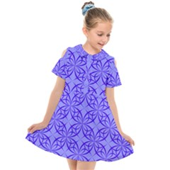 Decor Pattern Blue Curved Line Kids  Short Sleeve Shirt Dress