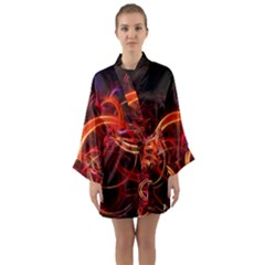 Background Fractal Abstract Long Sleeve Kimono Robe