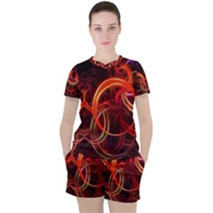 Background Fractal Abstract Women s Tee And Shorts Set