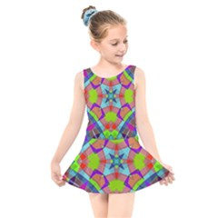 Farbenpracht Kaleidoscope Pattern Kids  Skater Dress Swimsuit by Pakrebo