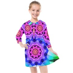 Ornament Kaleidoscope Kids  Quarter Sleeve Shirt Dress
