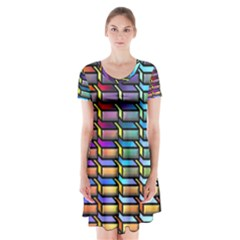 Pattern Background Creativity Short Sleeve V Neck Flare Dress