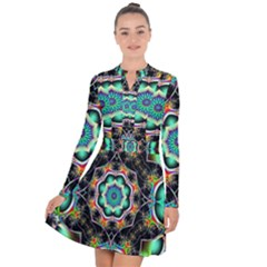 Fractal Chaos Symmetry Psychedelic Long Sleeve Panel Dress