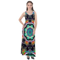 Fractal Chaos Symmetry Psychedelic Sleeveless Velour Maxi Dress
