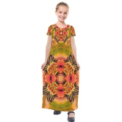 Fractals Graphic Fantasy Colorful Kids  Short Sleeve Maxi Dress