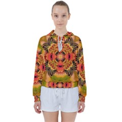 Fractals Graphic Fantasy Colorful Women s Tie Up Sweat by Pakrebo