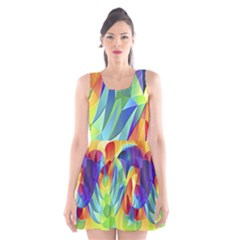 Modern Art Fractal Background Scoop Neck Skater Dress