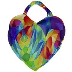 Modern Art Fractal Background Giant Heart Shaped Tote by Pakrebo
