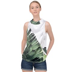 Banana Leaf High Neck Satin Top by goljakoff