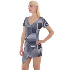 Construction Background Geometric Short Sleeve Asymmetric Mini Dress