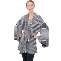 Construction Background Geometric Velvet Kimono Robe