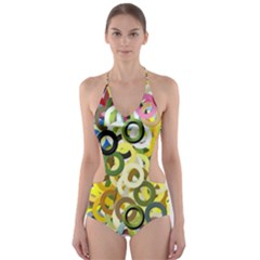 Pattern Background Abstract Color Cut Out One Piece Swimsuit by Pakrebo