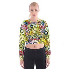 Pattern Background Abstract Color Cropped Sweatshirt by Pakrebo