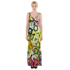 Pattern Background Abstract Color Maxi Thigh Split Dress by Pakrebo